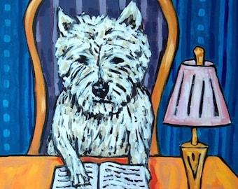 25% off West Highland White Terrier Reading a Book Dog Art Print  JSCHMETZ modern folk library