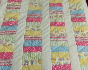 Crib Quilt with Owls