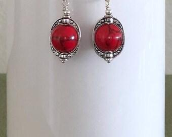 Red Howlite Dangle Earrings