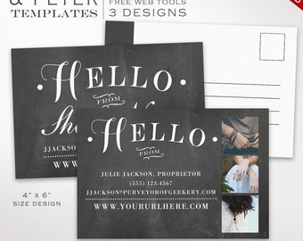 Postcard Template - Chalkboard Flyer Template Postcard Kit - Printable Photography Postcard Editable Shop Announcement Flyer PC46 AAA
