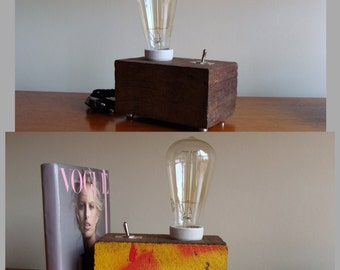 Wood lamp with Edison bulb. Table lamp, decorative, vintage style. Lighting. Gift. Handmade. Hand made.