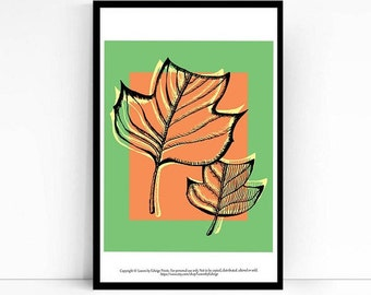 Orange Green Tulip Tree Leaf Print - 8x10 inch art print - Fall Decorations - Fall Home Decor - Originally Pen and Ink - Fall Wall Art