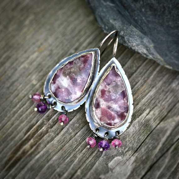 Lepidolite and Amethyst Teardrop Cabochon Sterling Silver Statement Earrings