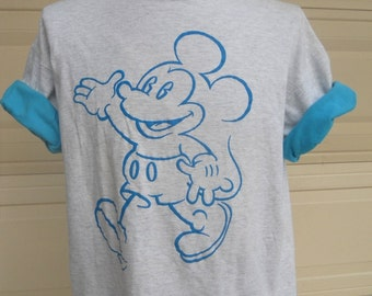 vintage mickey mouse shirt . 80s turquoise puffed mickey . contrast sleeves