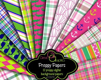 Preppy Paper Digital Paper Preppy Whale Madras Plaid Preppy Alligator Printable Paper Pink and Green Digital Download - Instant Download