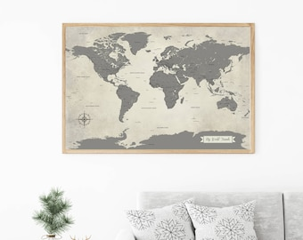 Grey world map etsy grey world map push pin world travel map map art print gumiabroncs Image collections