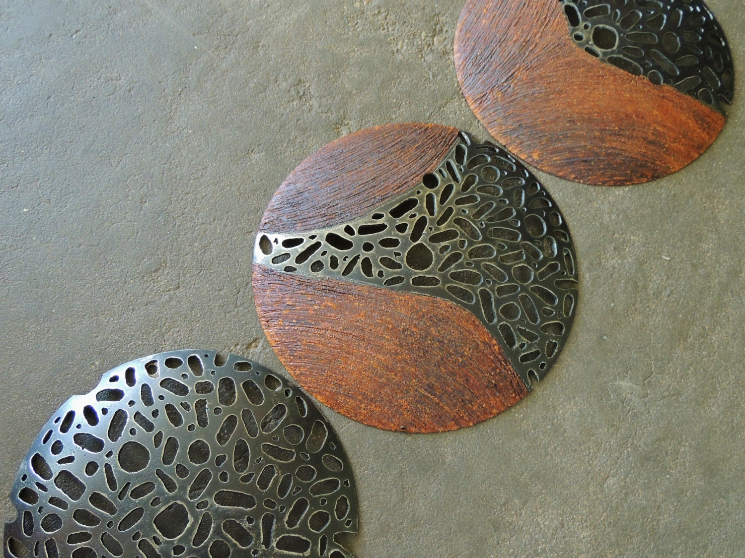 Round Metal Art Round Metal Sculpture Set Of 3 Made To Order Industrial
