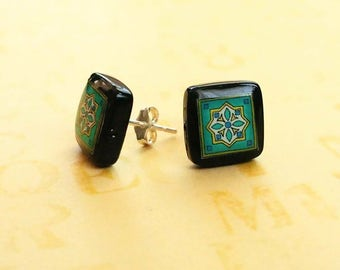 Black Onyx and Sterling Silver Post Earrings, Spanish, Mexican, Catalina and Mediterranean Tile Inspired