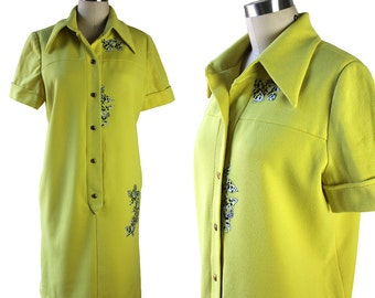Citrus Yellow-Green Short Sleeve Shirt Dress with Tropical Floral Appliques
