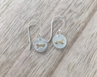 Small Silver Disc Earrings with Brass Arrow