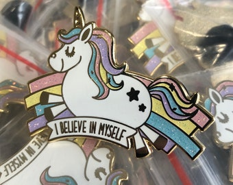I believe in myself (Magical Unicorn) - Adorable Enamel Pin - Cutest Thing To Wear - Punny Pun
