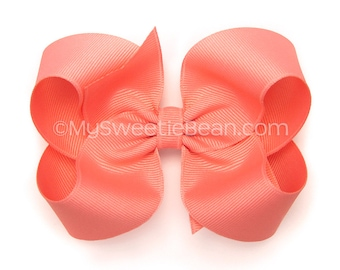 Shell Pink Boutique Bow, 4 inch Hair Bow, Shrimp Pink Bow, Basic Bow, MTMG Pretty Posies, Baby Toddler Girl