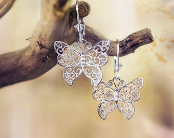 Butterfly Filigree Leverback Earrings