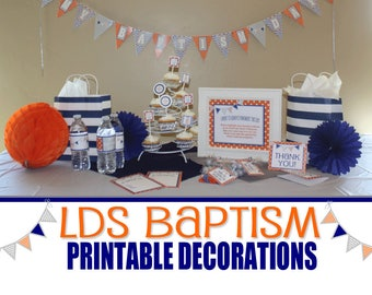 LDS Baptism Printable Party Decorations Set, Orange Blue and Gray, Boys Baptism, Chews the Right, CTR, Chews The Right, Baptism Banner