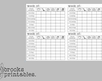 A6 RINGS Chore Checklist Insert | Printable Inserts