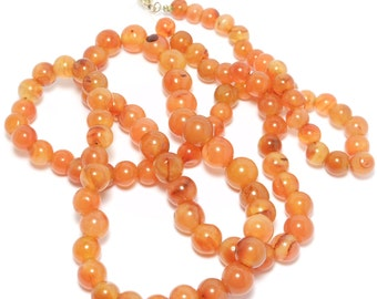 Old Carnelian Agate Beads Necklace To Restring