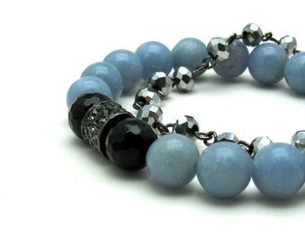 Black  Onyx  and  Blue  Angelite  Modern  Beaded  Stretch Bracelet, Crystal Pave Pastel Bracelet, For Her Under 100, Limited Edition
