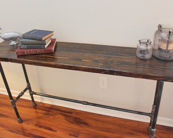 Genial Steel And Pine Wood Long Console / Bar Table