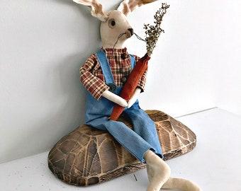 Primitive Bunny | Easter Rabbit | Prim Easter Rabbit | Farmhouse Rabbit Doll | Primitive Rabbit Doll | Easter Spring Decor