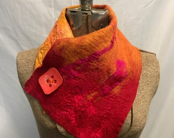 Red and Orange Wet Felted Cowl