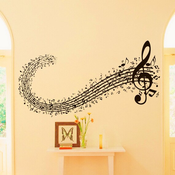 Musicl Wall Decal Vinyl Sticker Musical Sign Note Notes Waves