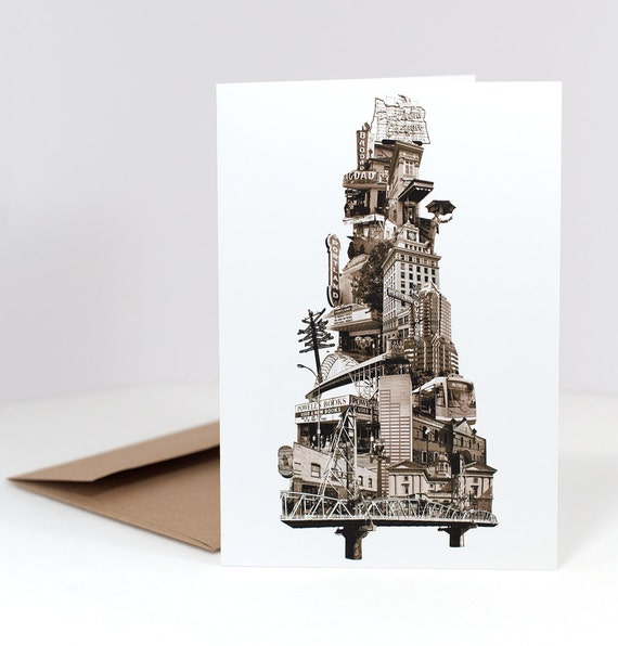 Portland Notecard // Greeting Card // Oregon Note Card // Tower of Portland // Sepia // 5x7 // Photo Collage // Portland Pride
