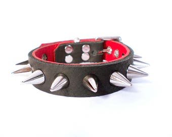 "3/4"" Soft Black Leather w/Peek-a-Boo Red Inlay, Thick Leather Spiked Dog Collar with small cone spikes"