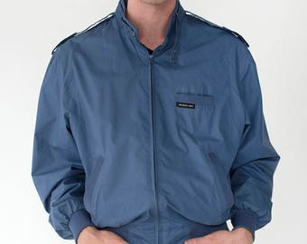 Members Only Mens Vintage 1980s Lightweight Classic Blue Zip Up Snap Latch Collar Snap Shoulder Epaulets Jacket - Size 42