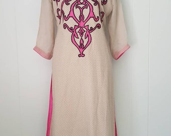 Tank and Pink Embroidered Kaftan