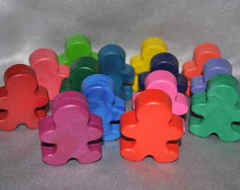 People Shaped Recycled Crayons, Total of 15 Crayons.  Boy or Girl Kids Unique Party Favors, Crayons.