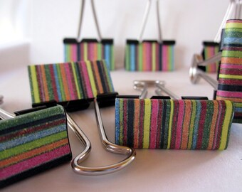 "Binder Clips - ""Crayon Stripe"""