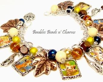 Giraffe Charm Bracelet Jewelry, Safari Charm Bracelet Jewelry, Giraffe Picture Charm Bracelet, Giraffe Photo Charm Bracelet, African Safari