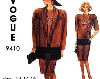 Vogue 9410 Very Easy Very Vogue: Loose-fitting Unlined Jacket and Straight Dress Sewing Pattern - UNCUT - Size 14-16-18 - Vintage 1985