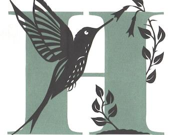 H is for Hummingbird - Original Papercut Art
