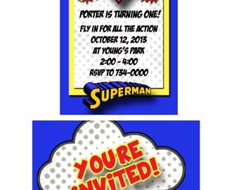 Superman Birthday Invitation - 15 Invites