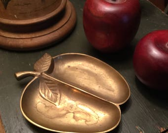 Vintage brass apple trinket dish, ring, coin dish