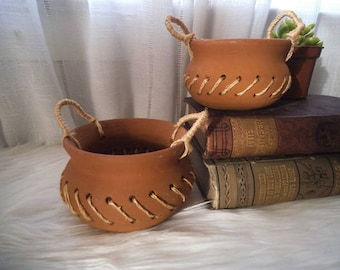 2 Vintage TerraCotta and Jute Succulent pots ~ Herb Pots ~ Small Clay Vessels ~ Natural Element Decor