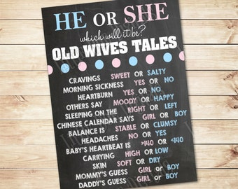 Instant Download - He or She Old Wives Tales - 3 SIZES Old Wives Tales Poster - Gender Reveal - Boy or Girl- Prediction Board