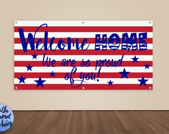 Welcome Home Military Banner - Military Homecoming Sign - Deployment Homecoming Banner - Welcome Home Banner - Welcome Home Daddy Sign