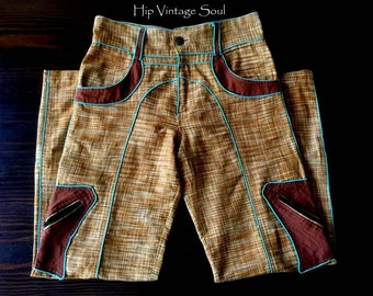 Vintage 1990's Funky Pants, Cotton Artist Pants, Unusual Cotton Pants, Artsy Clothing