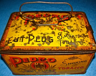 Vintage Pedro Tobacco Tin / Metal Lunch Pail / Lunch Box
