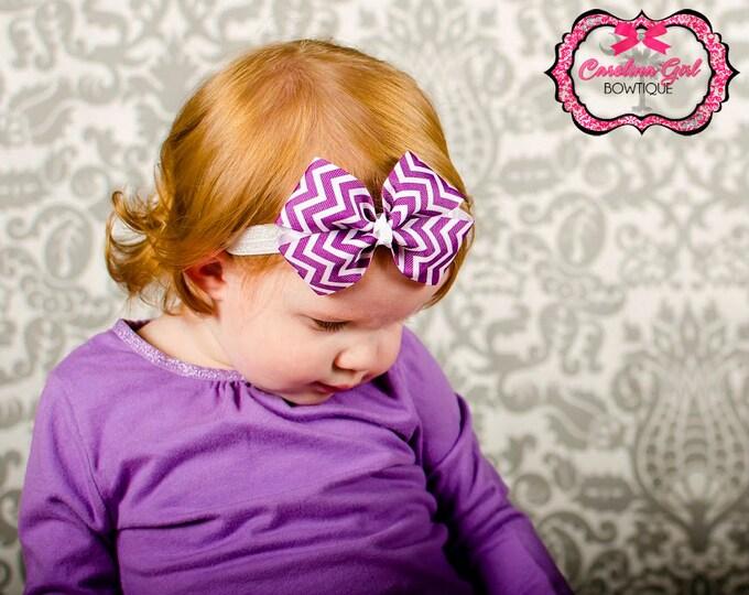 Purple Chevron Bow Band - Bow on an Elastic Headband Baby Infant Toddler - Girls Hair Bows