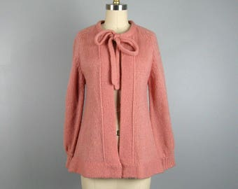 Vintage 1970s Pink Sweater 70s Open Front Cardigan with Neck Tie Size M
