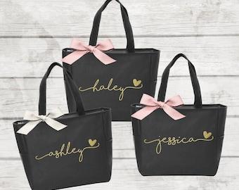 Set of 6 Bridesmaid Tote Bags, Maid of Honor Tote, Personalized Bridesmaid Bags, Bridal Party Bridesmaid Gifts  (BR036)