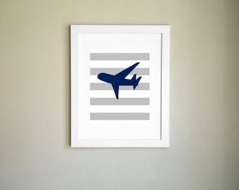Blue Airplane Print, Nursery Printable, Child Wall Art, Airplane Printable, Printable Art, Nursery Art, Printable Wall Art, Instant Download