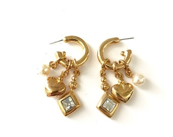 Vintage Gold Plated Charm Earrings