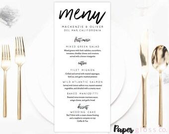 Wedding Menu Template,  Wedding Menu, Calligraphy Wedding Menu, Modern Calligraphy Menu, Printable & Editable,  PDF Instant Download