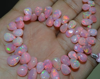 AAA Quality Natural Girly Pink Ethiopian opal Pear ,3x5 to 4x6 mm Approx. , 7 inch Strand