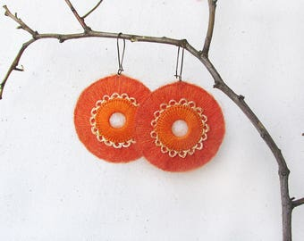 Orange earrings Bold earrings Statement Earrings Large Circle earrings Tangerine Crocheted earrings Crochet Jewelry Bright Boho Jewelry