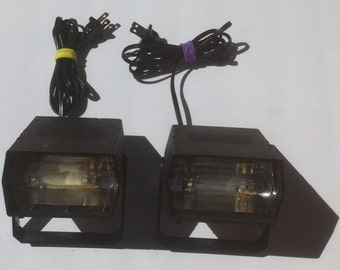 Lot of 2 Vintage Strobe Lights for Disco or Party, 80's Style, 80's Party, Welcome Back Kotter, Happy Days, Made in USA, Flashing Lights